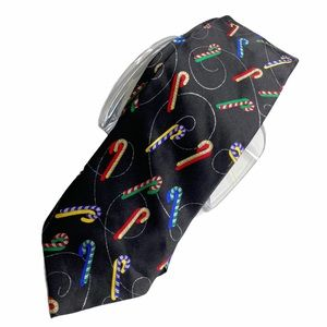 Holidays Candy cane pattern 100% Silk tie black